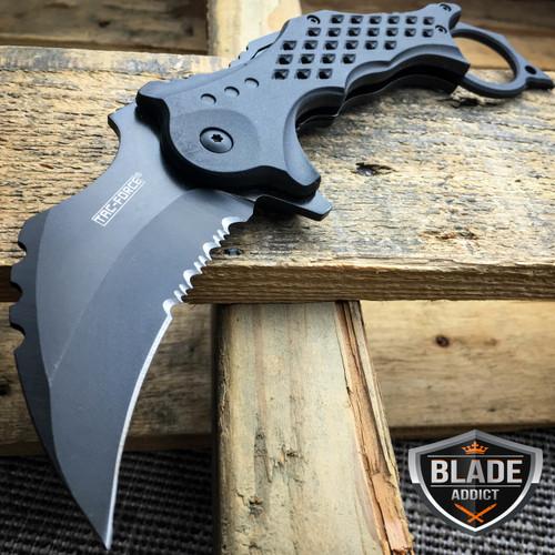 TAC FORCE BLACK Spring Assisted Pocket Knives KARAMBIT CLAW Blade Tactical Knife