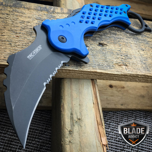 TAC FORCE BLUE Spring Assisted Pocket Knives KARAMBIT CLAW Blade Tactical Knife