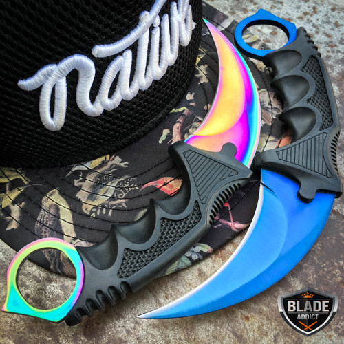 2PC TACTICAL COMBAT FIXED BLADE KARAMBIT RAINBOW BLUE CSGO HUNTING KNIFE SET