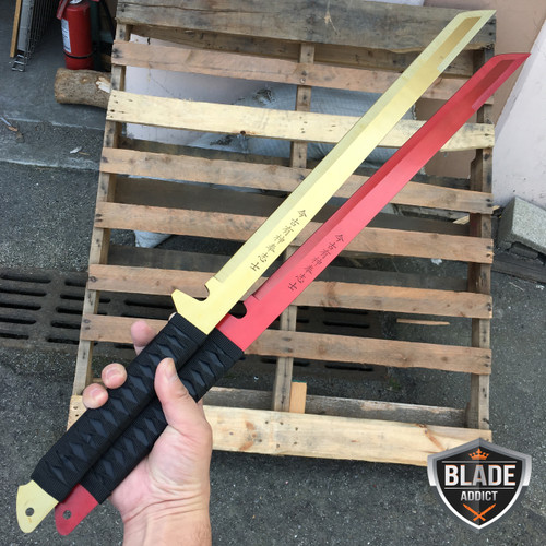"2PC 27"" FULL TANG NINJA MACHETE KATANA SWORD ZOMBIE TACTICAL SURVIVAL KNIFE"