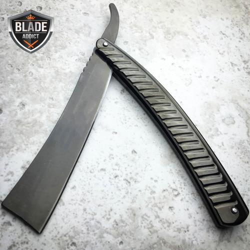 BLACK Straight Blade Barber Razor Folding Pocket Knife Shaving Cut Throat NEW