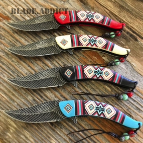 4PC NATIVE AMERICAN FEATHER DAMASCUS SPRING ASSISTED POCKET KNIFE