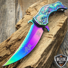 "8"" DRAGON RAINBOW TACTICAL Spring Assisted Open Blade FOLDING POCKET KNIFE Fade"