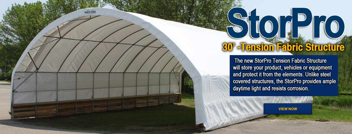 The new StorPro Tension Fabric Structure is the ideal solution for your hay and feed storage, sand and salt storage, tractors or construction equipment.