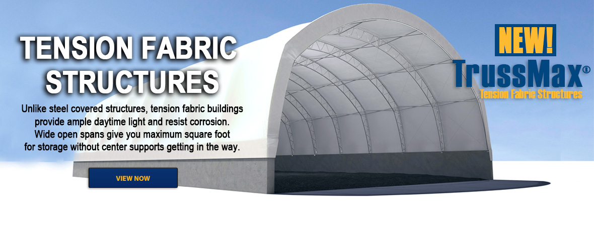 Tension Fabric Structures are used in a variety of ways. Municipal sand & salt storage, warehousing, equipment storage, airplane hangars, marine storage, agricultural buildings and temporary shelters are just a few of the uses for these versatile storage