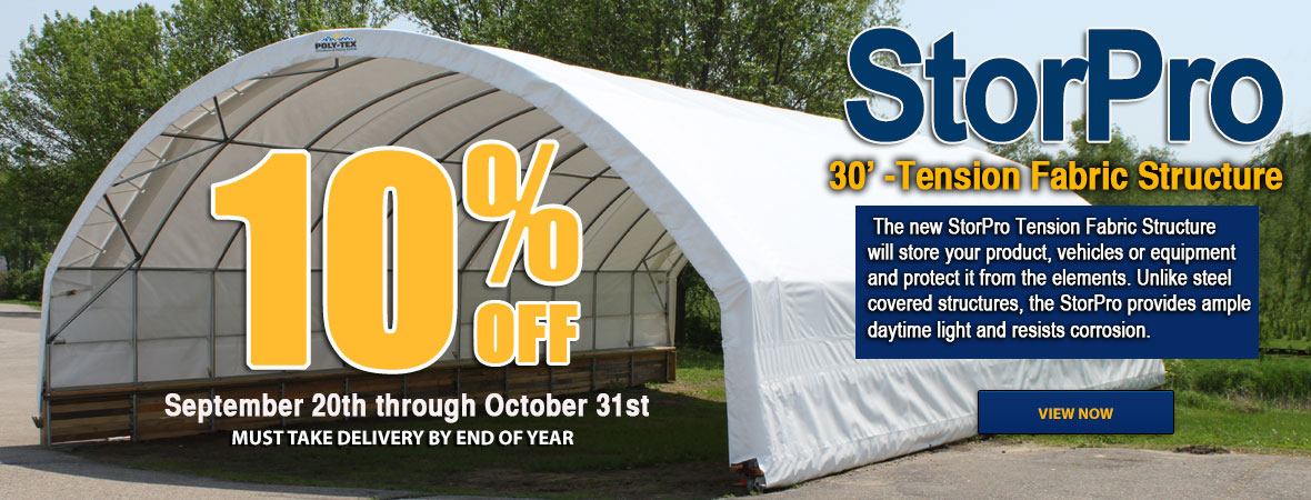 StorPro Tension Fabric Structure 10% off until October 31st