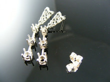 ER28C  EARRING SETTINGS STERLING SILVER, 1)4MM, 1)3.5MM, 1)2.75MM ROUND STONES