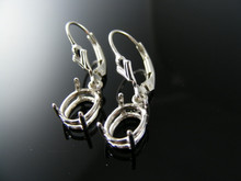ER37 EARRING SETTING STERLING SILVER, 9X7 MM OVAL STONE