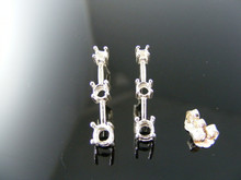 ER28 EARRING SETTINGS STERLING SILVER, 1)4MM, 1)3.5MM 1)2.75MM ROUND STONES