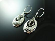 5813E Sterling Silver Lever Back Earrings, 9x7mm Oval Gemstones