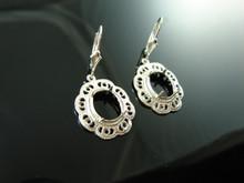 5928 Sterling Silver Lever Back Dangle Earrings,  11x9mm Oval Gemstones