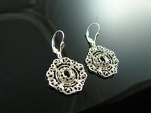 5881 Sterling Silver Lever Back Dangle Earrings, 7x5mm Oval Gemstones