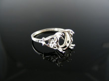 2880  RING SETTING STERLING SILVER, SIZE 7.25, 10X8 MM OVAL STONE