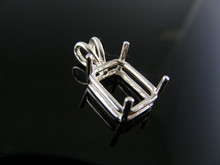 P1  PENDANT SETTING STERLING SILVER, 11X9 MM EMERALD CUT STONE