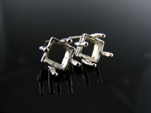 ER19  EARRING SETTING STERLING SILVER, 7 MM SQUARE STONE