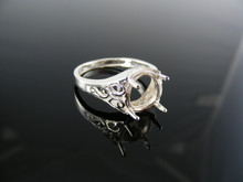 4851  RING SETTING STERLING SILVER, SIZE 7.75, 10X8 MM OVAL STONE