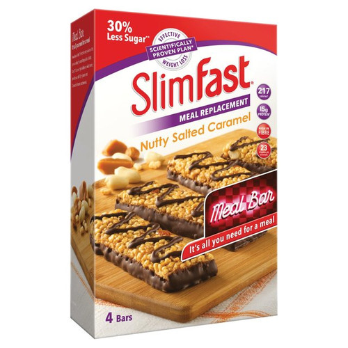 Slimfast Meal Replacement Nutty Salted Caramel  Four Bars per Pack