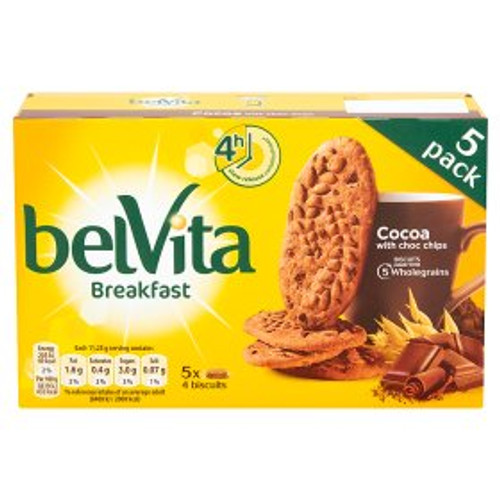 Belvita Breakfast Biscuits Cocoa with Choc Chips 5 Packs 225g