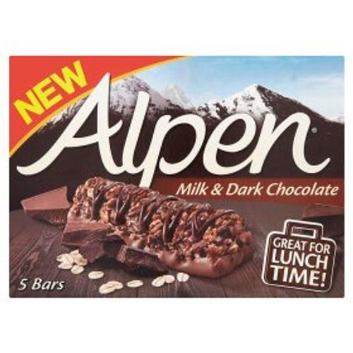 Alpen Milk & Dark Chocolate Cereal Bars 5x29