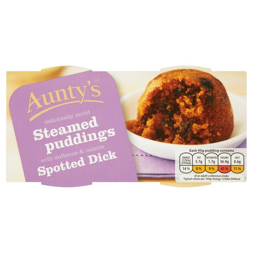 Auntys Spotted Dick Steamed Puddings 2x 95g