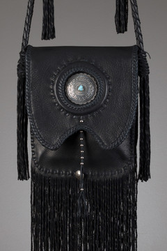 Buffalo Leather Bag - Black with Silver Concho