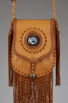 Choctaw Leather Bag - Saddle & Tobacco with a Sunface