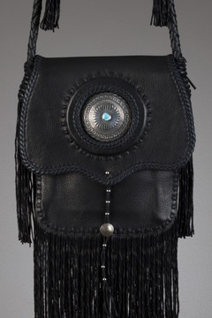 Cree Leather Bag - Black with a Silver Concho