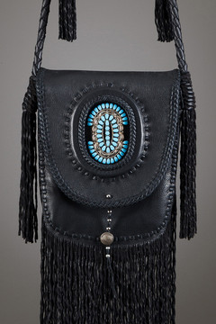 Winnebago Leather Bag—Black & Black with Large Zuni Pin