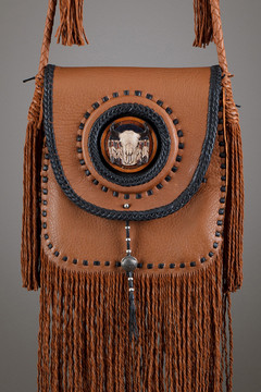 Winnebago Leather Bag—Tobacco & Black with Leather Skull