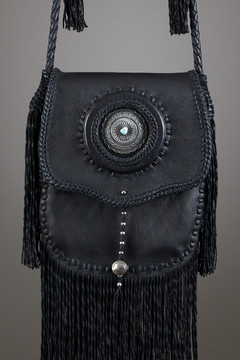Cheyenne Leather Bag—Black with Silver Concho