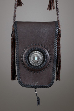 Kiva Leather Bag—Chocolate & Black with Silver Concho