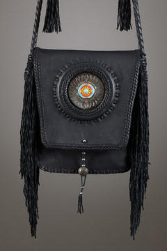 Pueblo Leather Bag	—Black & Black with Chevaz