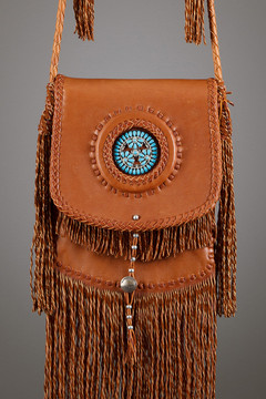 Sioux Leather Bag—Tobacco with Zuni Flower