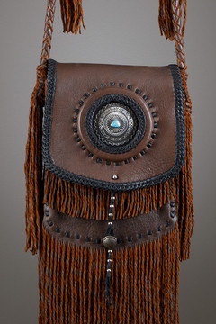 Sioux Leather Bag—Chocolate & Black with Silver Concho