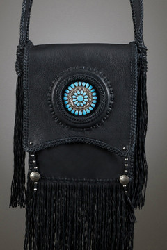 Santo Domingo Leather Bag—Black with Navajo Cluster