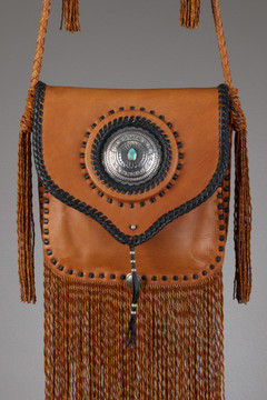 Seneca Leather Bag - Tobacco & Black with Silver Concho