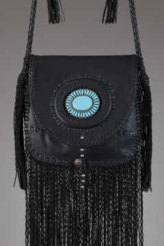 Zuni Leather Bag - Black with Zuni Pin