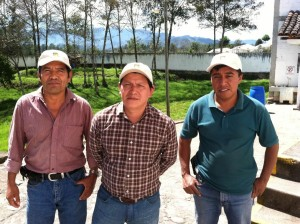 Chajul co-op leadership: Arcadio Daniel, Miguel Tzoy and Asociacion Chajulense's cupper at the Chajul co-op's warehouse & beneficio in Chajul, Guatemala, February, 2014.