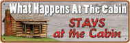 "Rivers Edge ""What Happens At The Cabin"" Tin Sign"