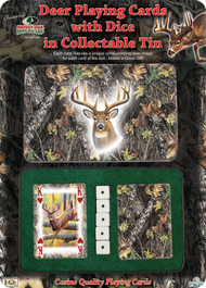 Rivers Edge Deer Playing Card/Dice Set, Collectable Tin