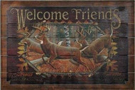 "Rivers Edge ""Welcome Friends"" Wooden Deer Sign"