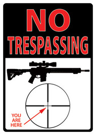 "Rivers Edge ""No Trespassing You Are Here"" Tin Sign"