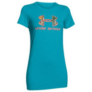 UA Womens Charged Cotton Tri-Blend Camo Logo Tee, Aqua/RXT
