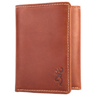 Browning Cognac Leather Tri-Fold Wallet