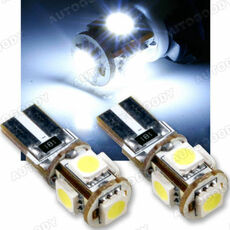 Error Free 5-SMD T10 2825 W5W LED Bulbs with Built-in Load Resistors For European Cars