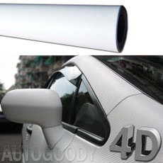 Premium 4D Gloss WHITE Carbon Fiber Vinyl Film Wrap Bubble Free Air Release