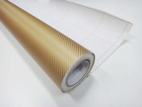 GOLD Carbon Fiber Vinyl Wrap 3D Bubble Free Air Release