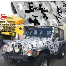 Snow Camo Camouflage Vinyl Film Wrap Decal Air Bubble Free Black