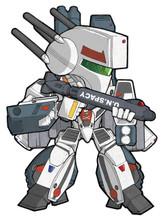 """Macross Skull Leader Strike Valkrie VF-1S SD art print 5""""x7"""" Mike Pflaumer"""
