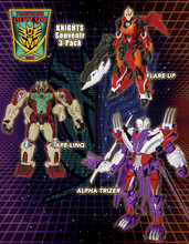 Transformers Bot Con 2014 Exclusive Knights 3 pack Apelinq Flareup Alpha Trizer